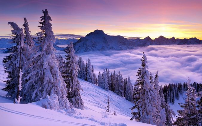 Winter sunset, Mount Tegelberg, Bavaria, Germany
