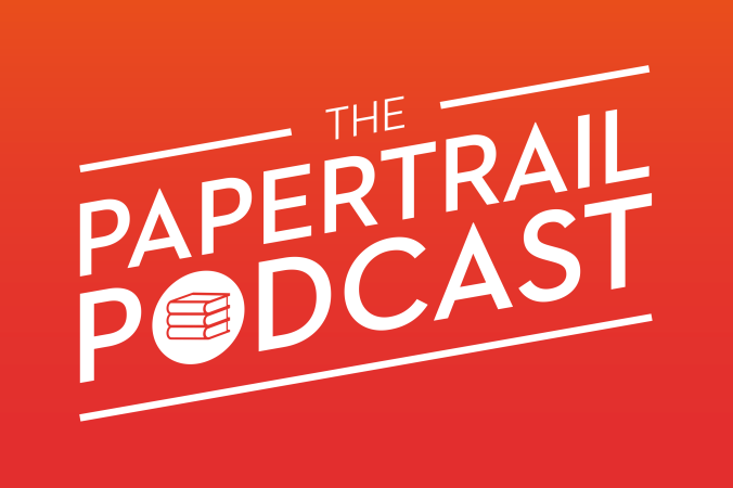 PapertrailPodcast SlantedLogo - WhiteOnRedGradient - RectangleBG.png